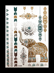 Temporary Flash Tattoos - Zazen (Metallic Gold, Silver & Teal)-Accessories-WonkiWear