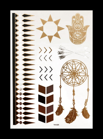 Temporary Flash Tattoos - Mantra (Metallic Gold & Black)-Accessories-WonkiWear