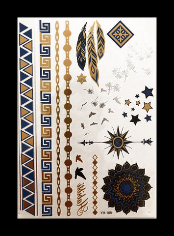 Temporary Flash Tattoos - Gazing (Metallic Gold, Silver & Navy) - WonkiWear