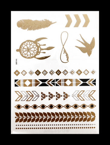 Temporary Flash Tattoos - Presence (Metallic Gold, Silver & Black)-Accessories-WonkiWear