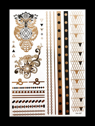 Temporary Flash Tattoos - Chakra (Metallic Gold & Black)-Accessories-WonkiWear