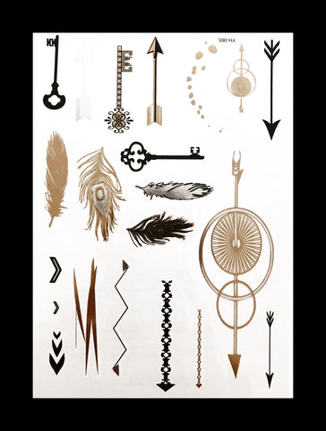 Temporary Flash Tattoos - Transcendence (Metallic Gold, Silver & Black)-Accessories-WonkiWear