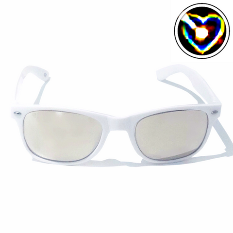 Diffraction Glasses - Lovestruck, Heart Effect (White)-Accessories-WonkiWear