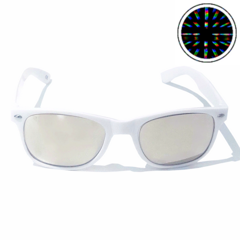 Diffraction Glasses - Cosmic, Starburst Effect (White)-Accessories-WonkiWear