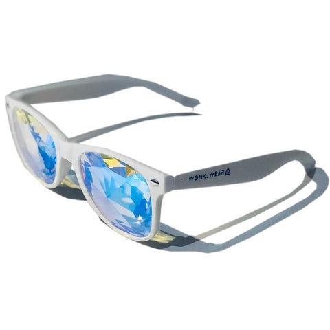 Kaleidoscope Glasses - Mirage (White) - WonkiWear