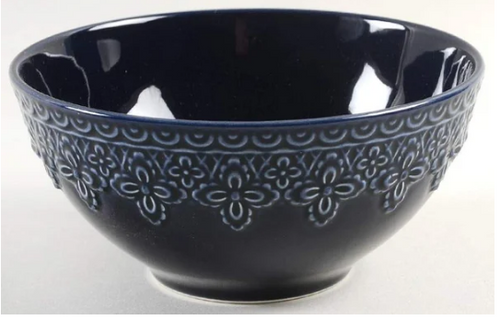 Lenox Chelse Muse Fleur Reactive Navy Cereal Bowl