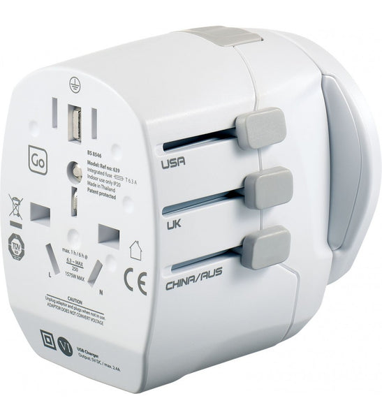 Go Travel World Adapter + Twin USB Charger Grounded