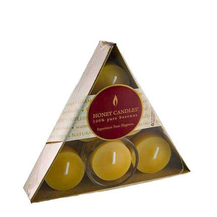 Honey Candles Triangle Tealights with Glass Cup