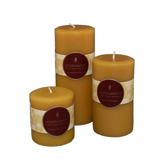 Honey Candles Beeswax Round Pillars