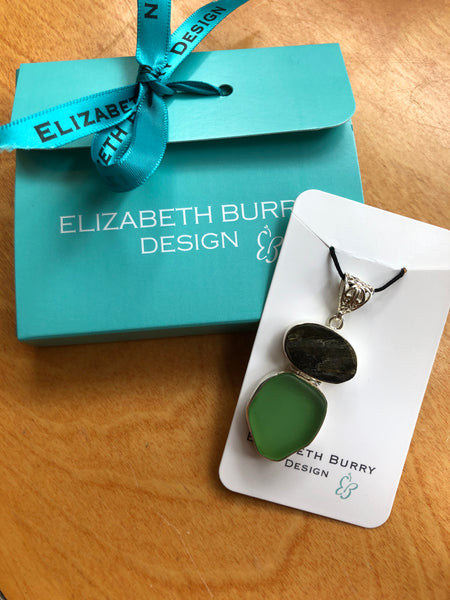 Elizabeth Burry Designs Watercolour Sea Glass Pendants Set in Sterling Silver