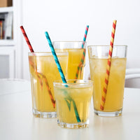 KIKKERLAND PAPER STRAWS COLOR STRIPES 144 PER BOX