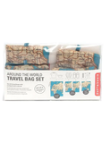 Kikkerland 4-Piece Travel Map Laundry Bags Set