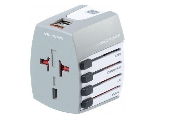 Go Travel World Adapter + Twin USB Charger Ungrounded