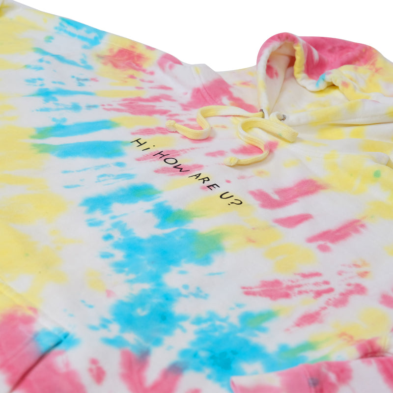 HI HOW ARE YOU? RAINBOW TIE DYE HOODIE