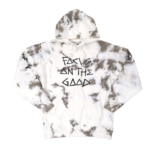 Focus On The Good Grey Tie Dye Hoodie