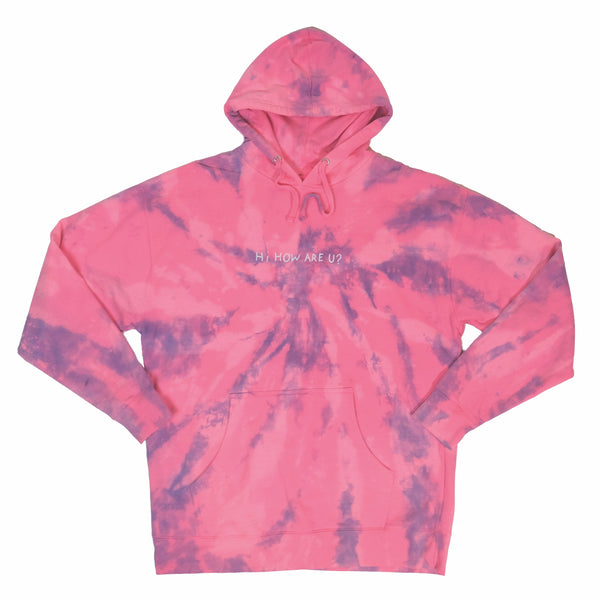 HI, HOW ARE YOU SAFETY PINK TIE DYE HOODIE
