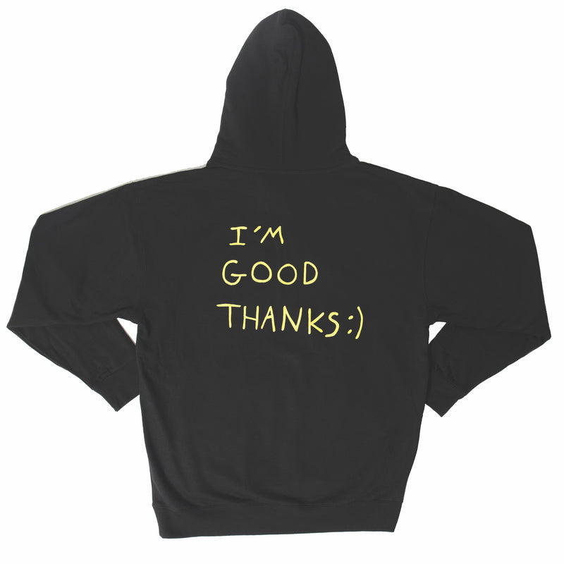 HI HOW ARE YOU? BLACK WITH NEON HOODIE