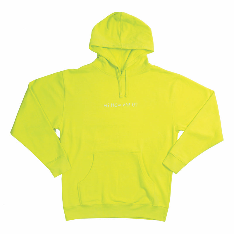 HI, HOW ARE YOU SAFETY YELLOW HOODIE • HANNAH STOCKING