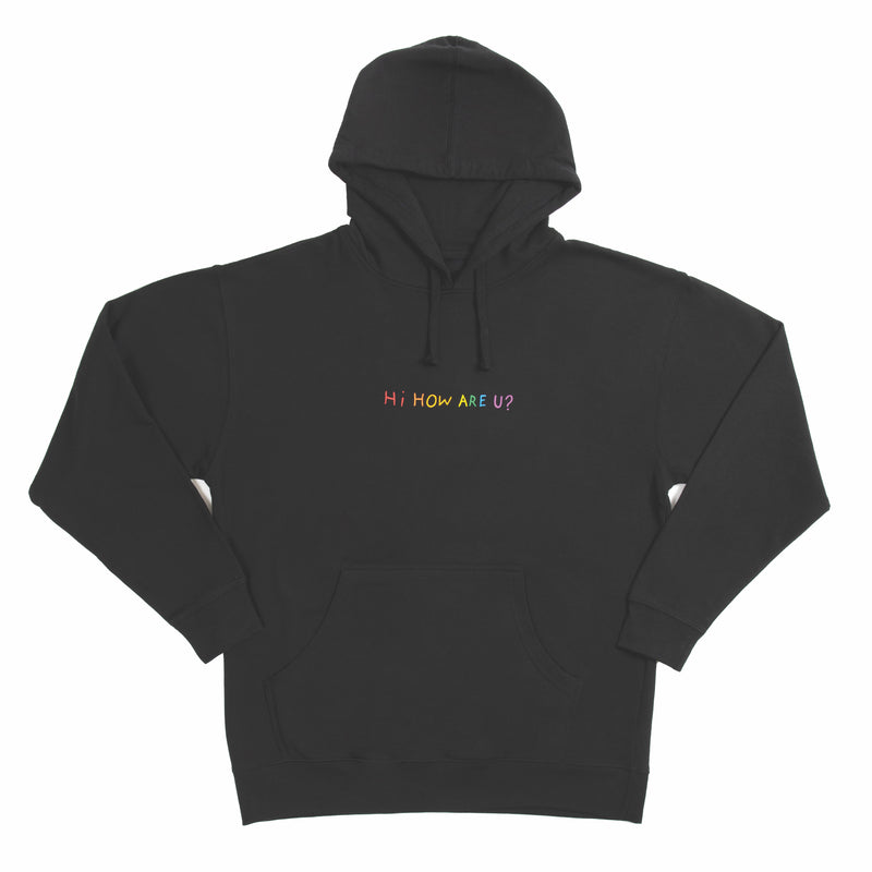HI HOW ARE YOU? BLACK WITH RAINBOW HOODIE