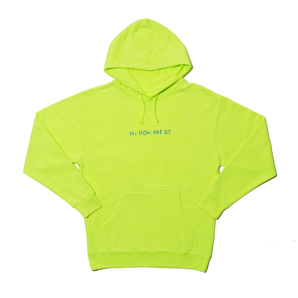HI, HOW ARE YOU SAFETY YELLOW AND BLUE HOODIE
