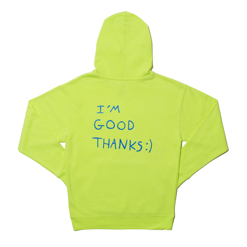 HI HOW ARE U? SAFETY YELLOW AND BLUE HOODIE