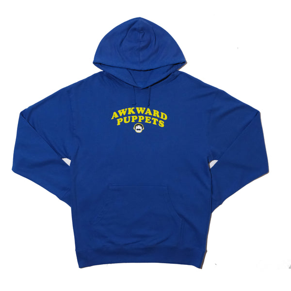 AWKWARD PUPPETS BLUE HOODIE WITH BACK PRINT