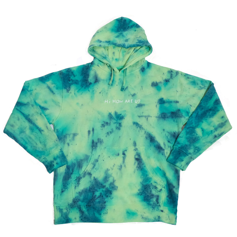 HI HOW ARE U? NEON YELLOW TIE DYE HOODIE