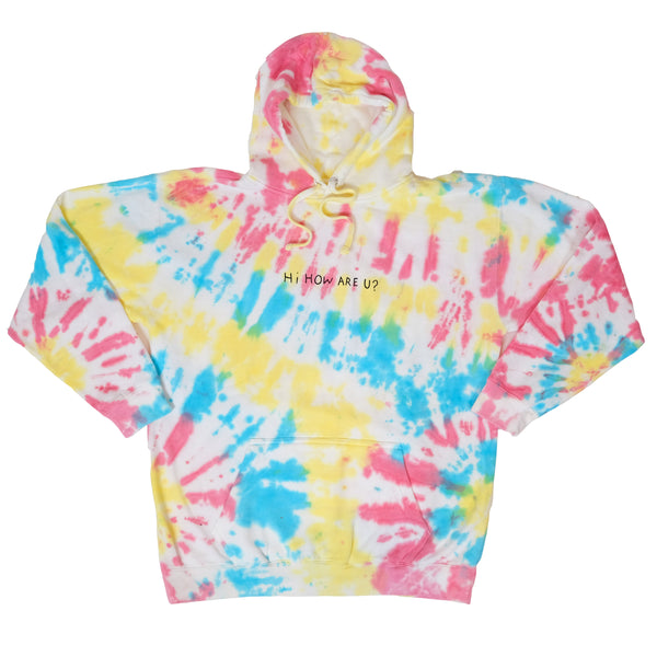 HI HOW ARE U? RAINBOW TIE DYE HOODIE