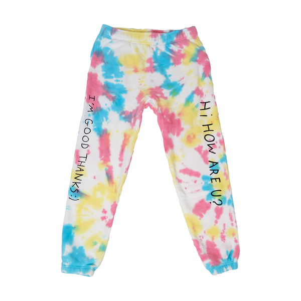 HI HOW ARE U? RAINBOW TIE DYE JOGGERS