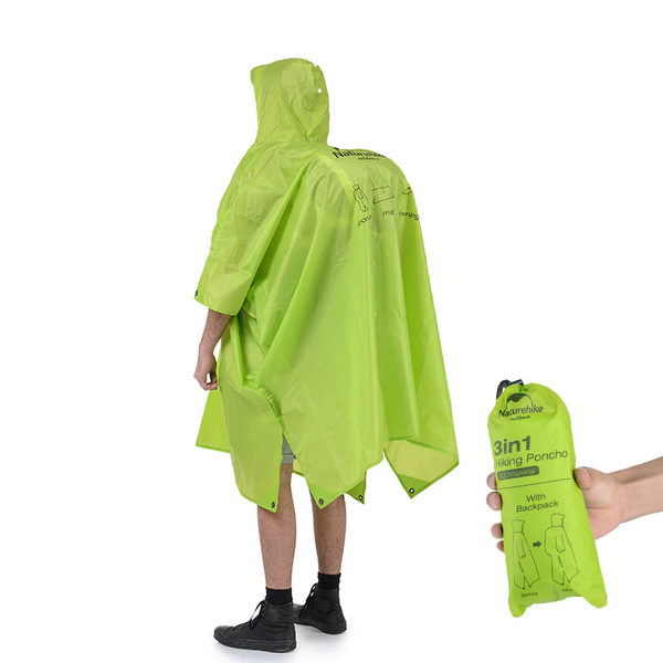 Naturehike 3 in 1 Hiking Poncho - equippt travel & camping