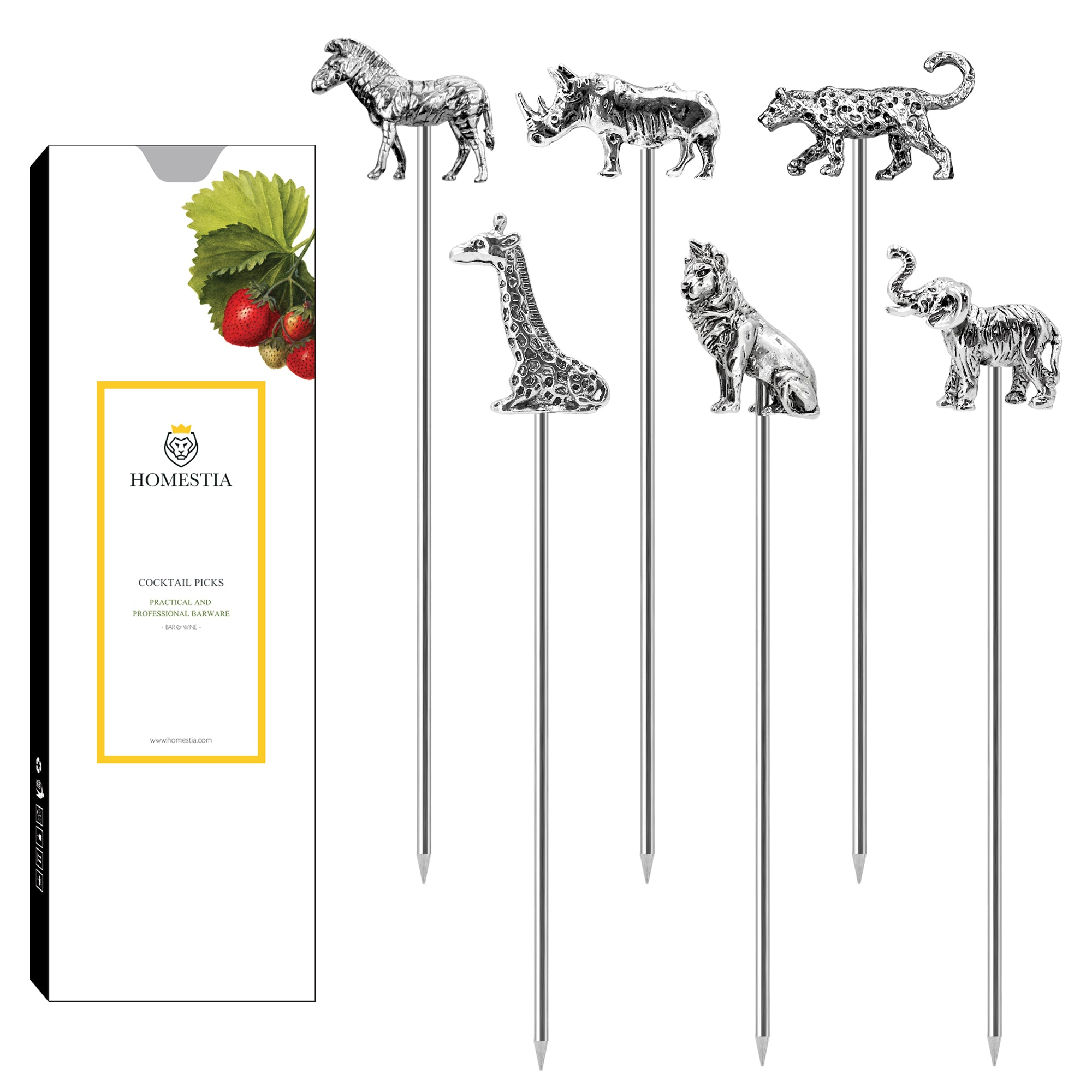 Animal Series Cocktail Picks Reusable Stainless Steel Cocktail Skewer Olive Picks Pack of 5 Homestia®
