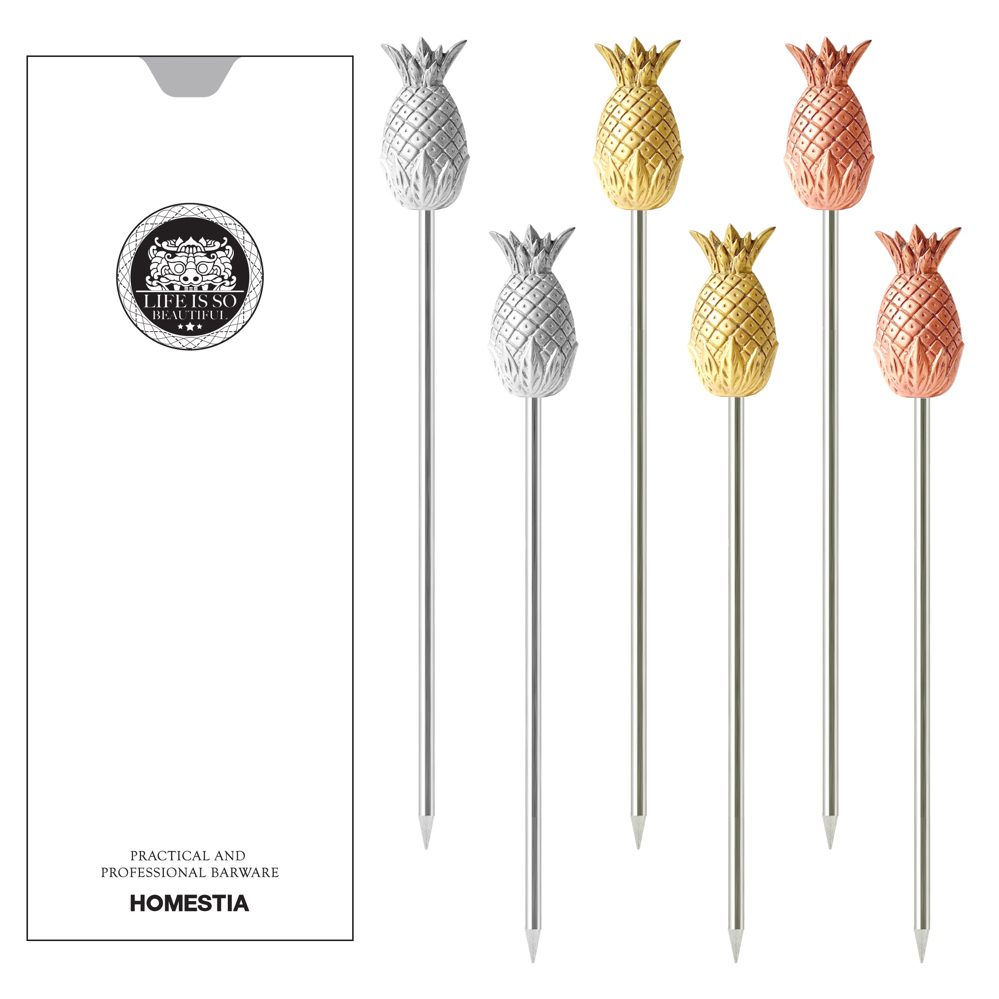 3-Colors Pineapple Series Cocktail Picks Reusable Stainless Steel Cocktail Skewer Martini Picks Set of 6 Homestia®