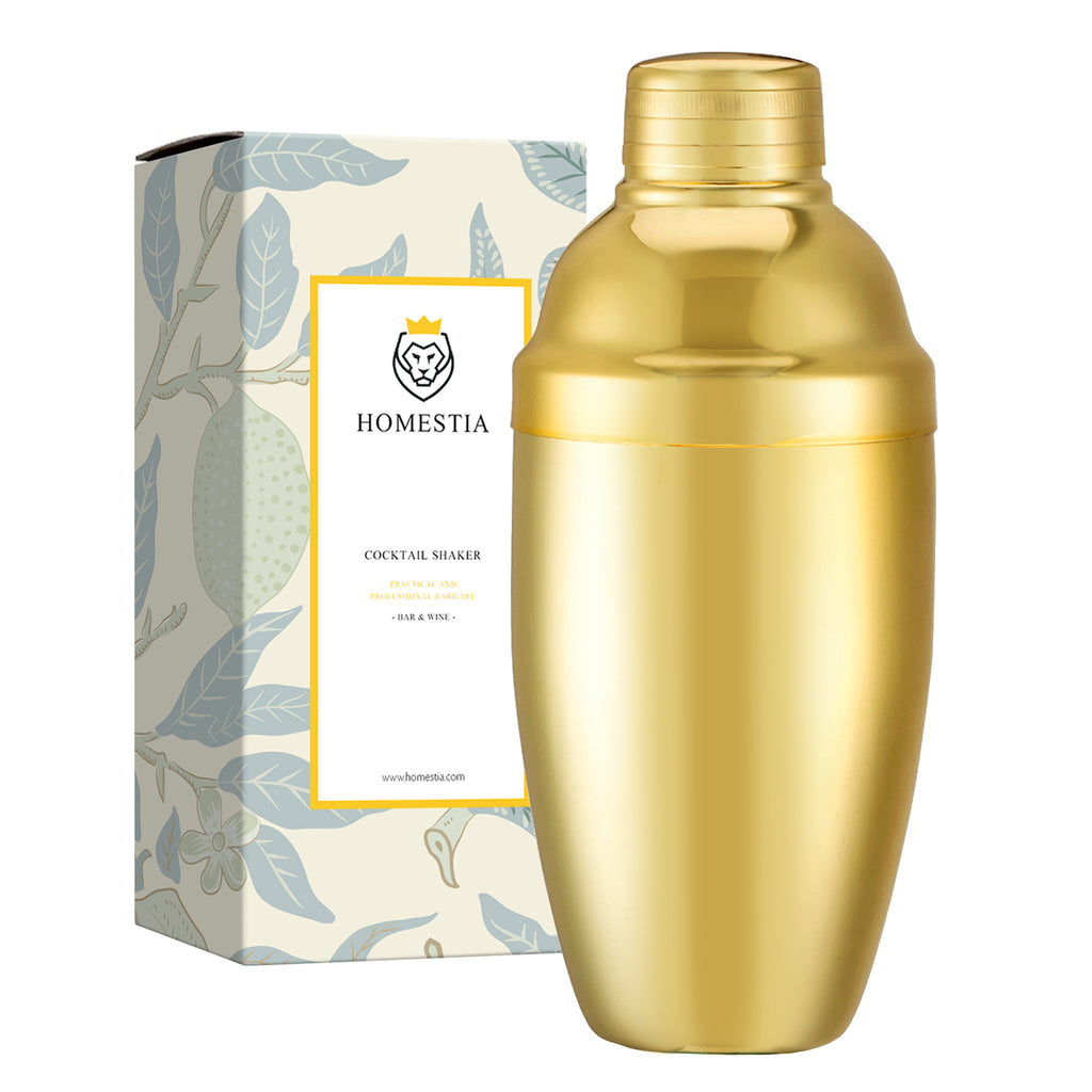 20 oz Gold Cobbler Shaker Stainless Steel Japanese Style Cocktail Shaker Homestia®