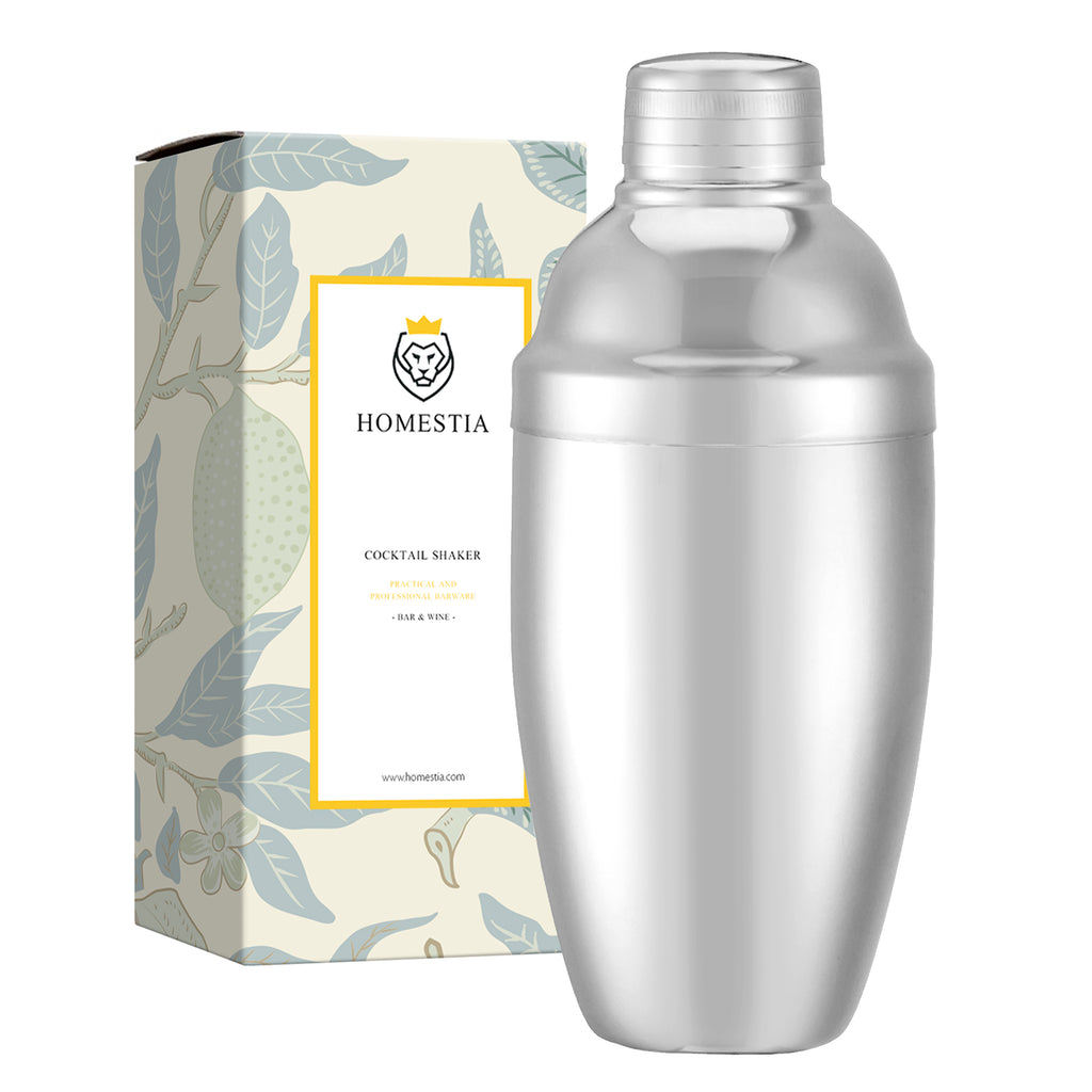 20 oz Silver Cobbler Shaker Stainless Steel Japanese Style Cocktail Shaker Homestia®
