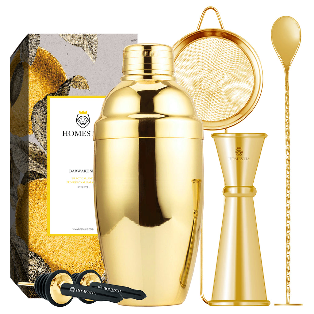 Homestia 20 oz Gold Cocktail Shaker Set Includes Cocktail Shaker Jigger Fine Mesh Sieve Mixing Spoon and Bottle Pourers 6 PCS