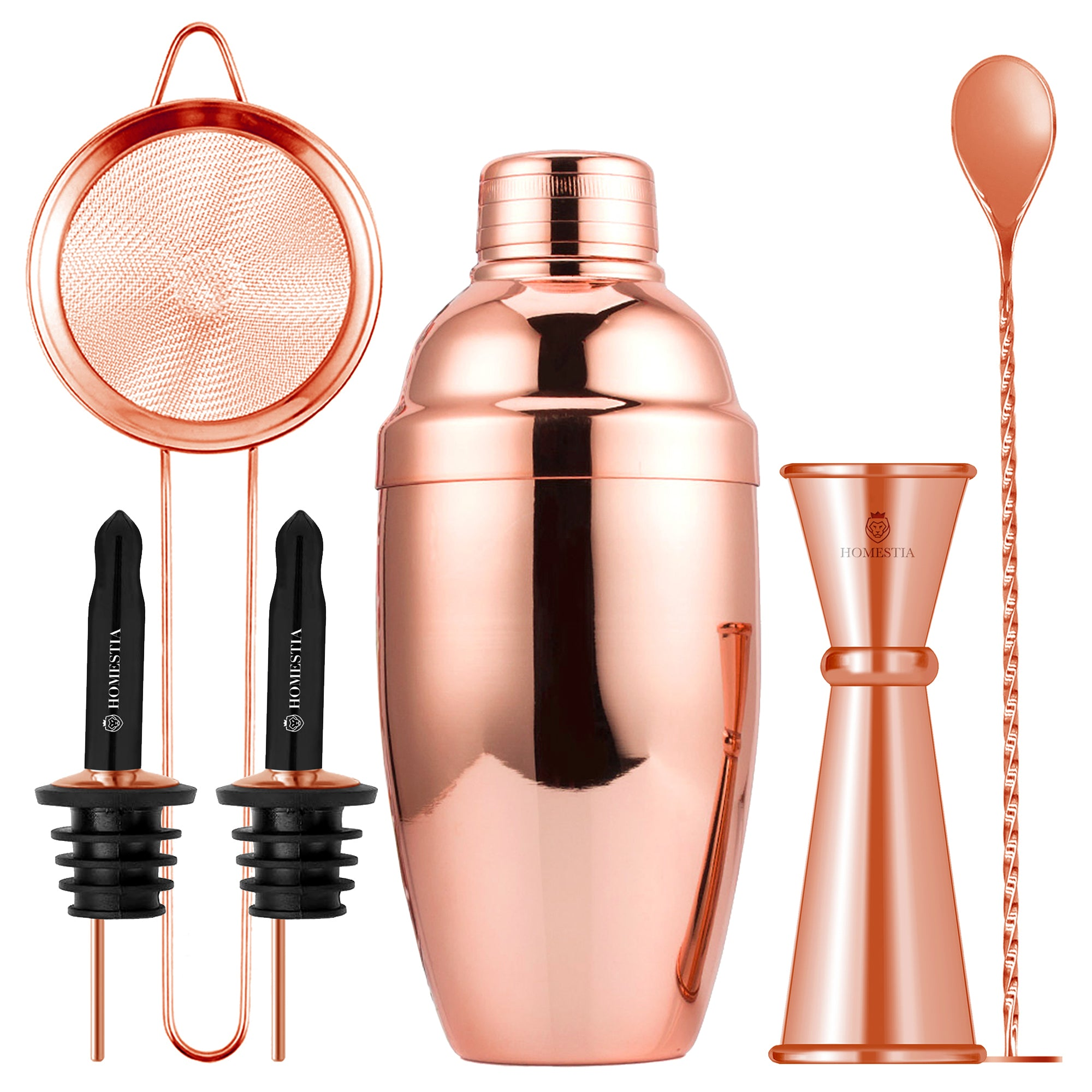 Homestia 20oz Cocktail Shaker Set with Double Cocktail Jigger and Mixing Spoon Bartender Kit Gift, Rose