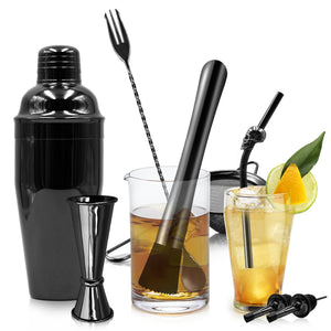 Homestia 10 Piece Cocktail Shaker Bar Set Stainless Steel Bartender Kit includes 23.5oz Shaker, Double Jigger, Bar Spoon, Fine Mesh Strainer, Muddler, 2 Bottler Pourer, 2 Skull Drinking Straw