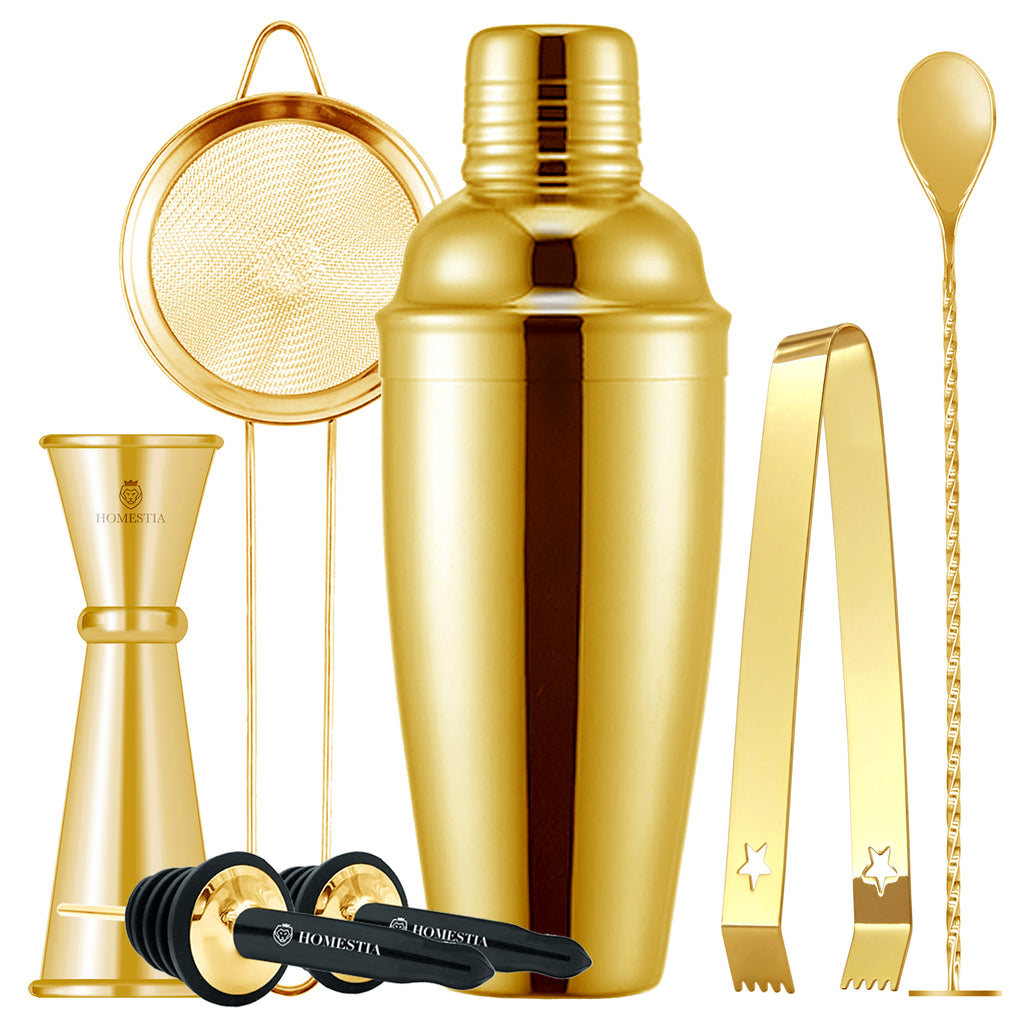Homestia 24 oz Gold Cocktail Shaker Set Includes Cocktail Shaker Jigger Fine Mesh Sieve Mixing Spoon Bottle Pourers and Ice Tong 7 PCS