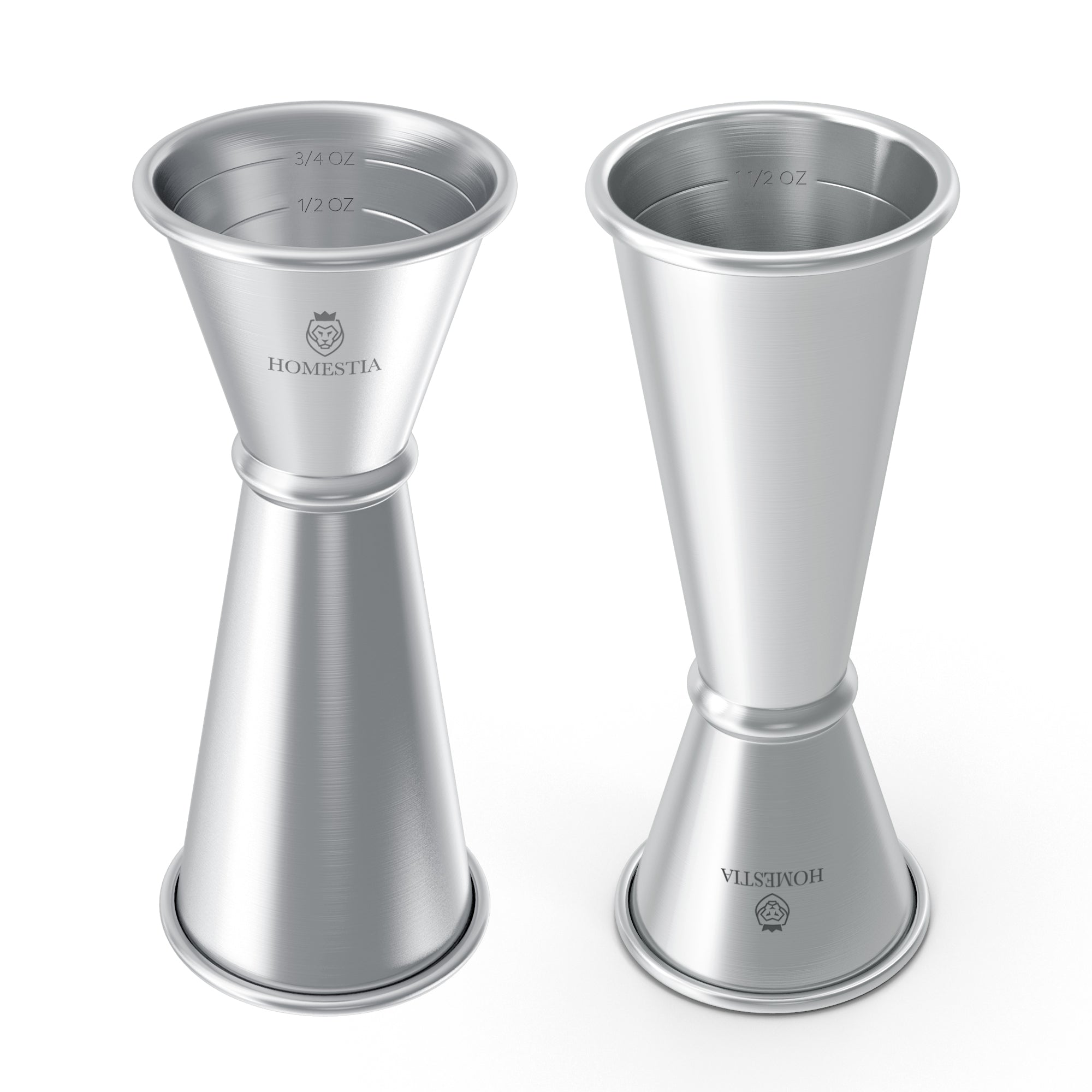 Bar Jiggers Japanese Style Stainless Steel Double Cocktail Jigger 1 & 2 oz Silver