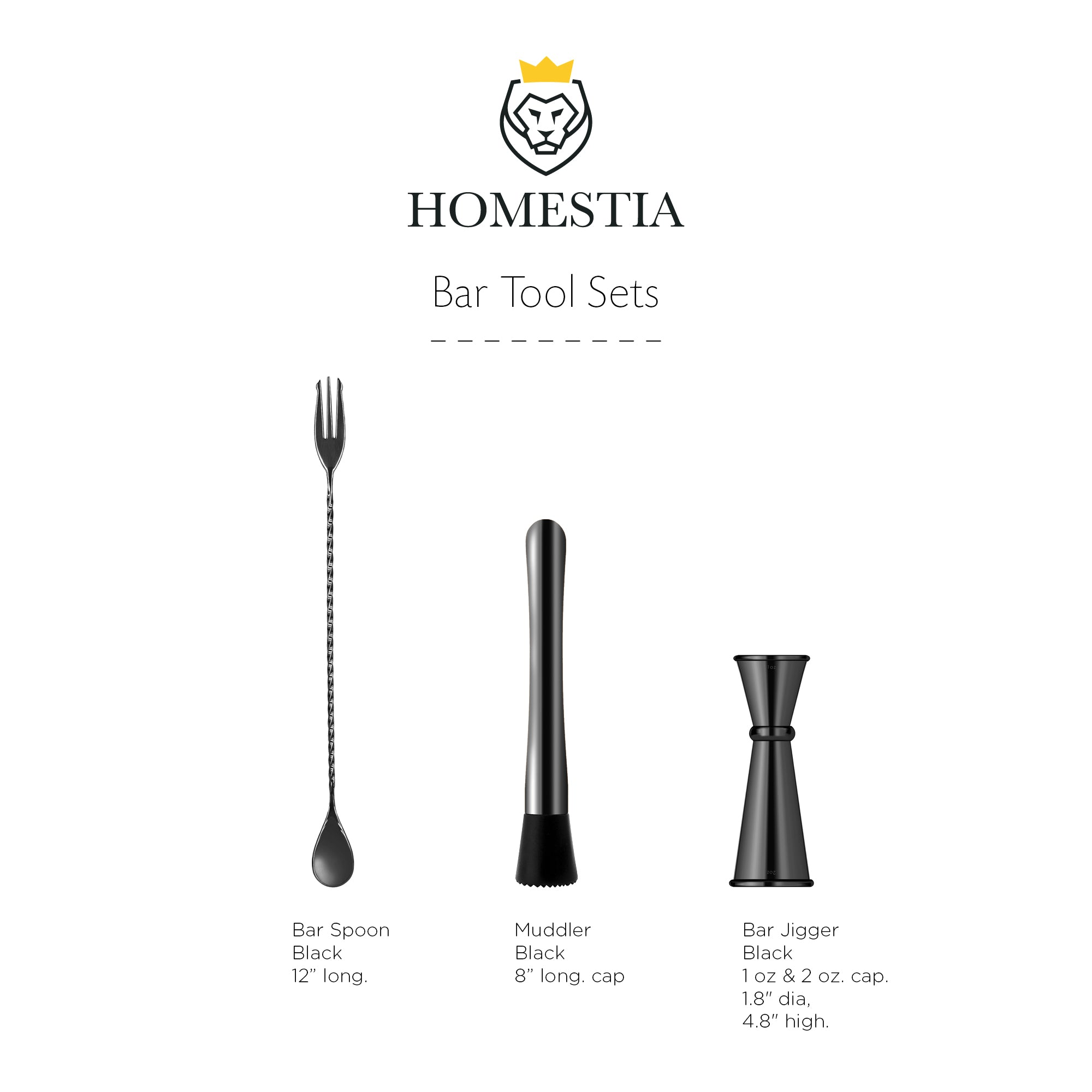 Homestia Muddler and Bar Spoon with Double Jigger Set of 3 Bar Tools Set Black