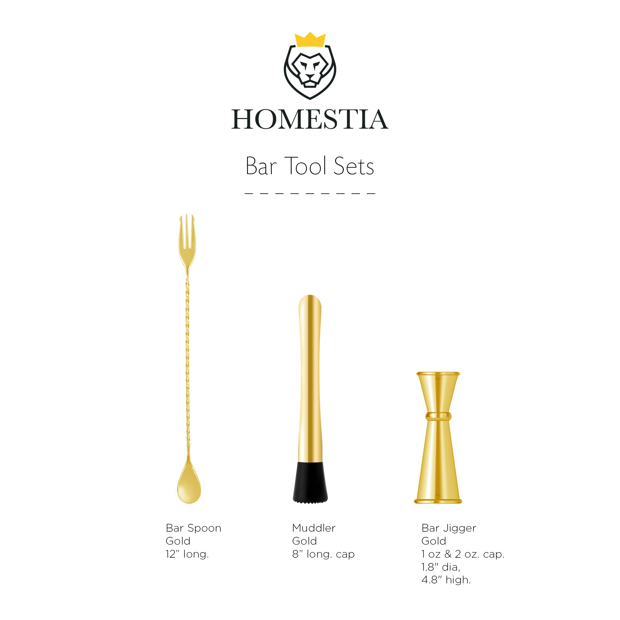 Homestia Muddler and Bar Spoon with Double Jigger Set of 3 Bar Tools Set Gold