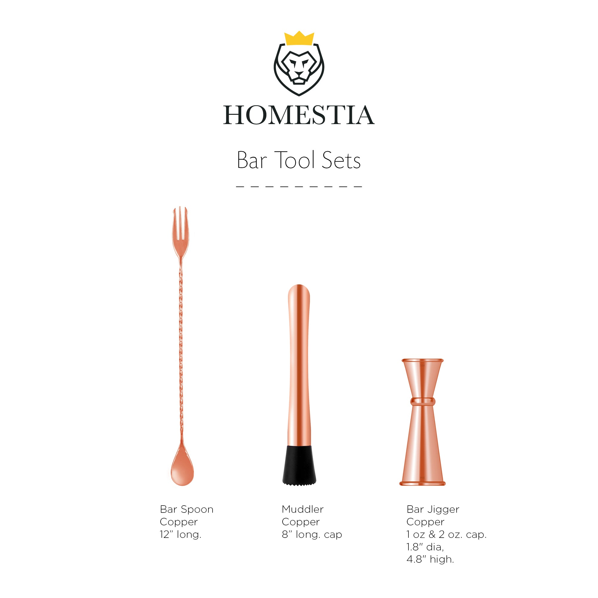 Homestia Muddler and Bar Spoon with Double Jigger Set of 3 Bar Tools Set Coppper