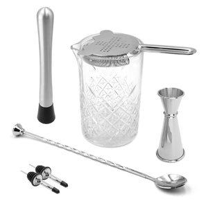 Homestia Cocktail Mixing Glass Set of 7 Piece: 24oz Seamless Lead Free Crystal Mixer, Bar Spoon, Double Jigger, Strainer, Muddler, 2 Bottle Pourer