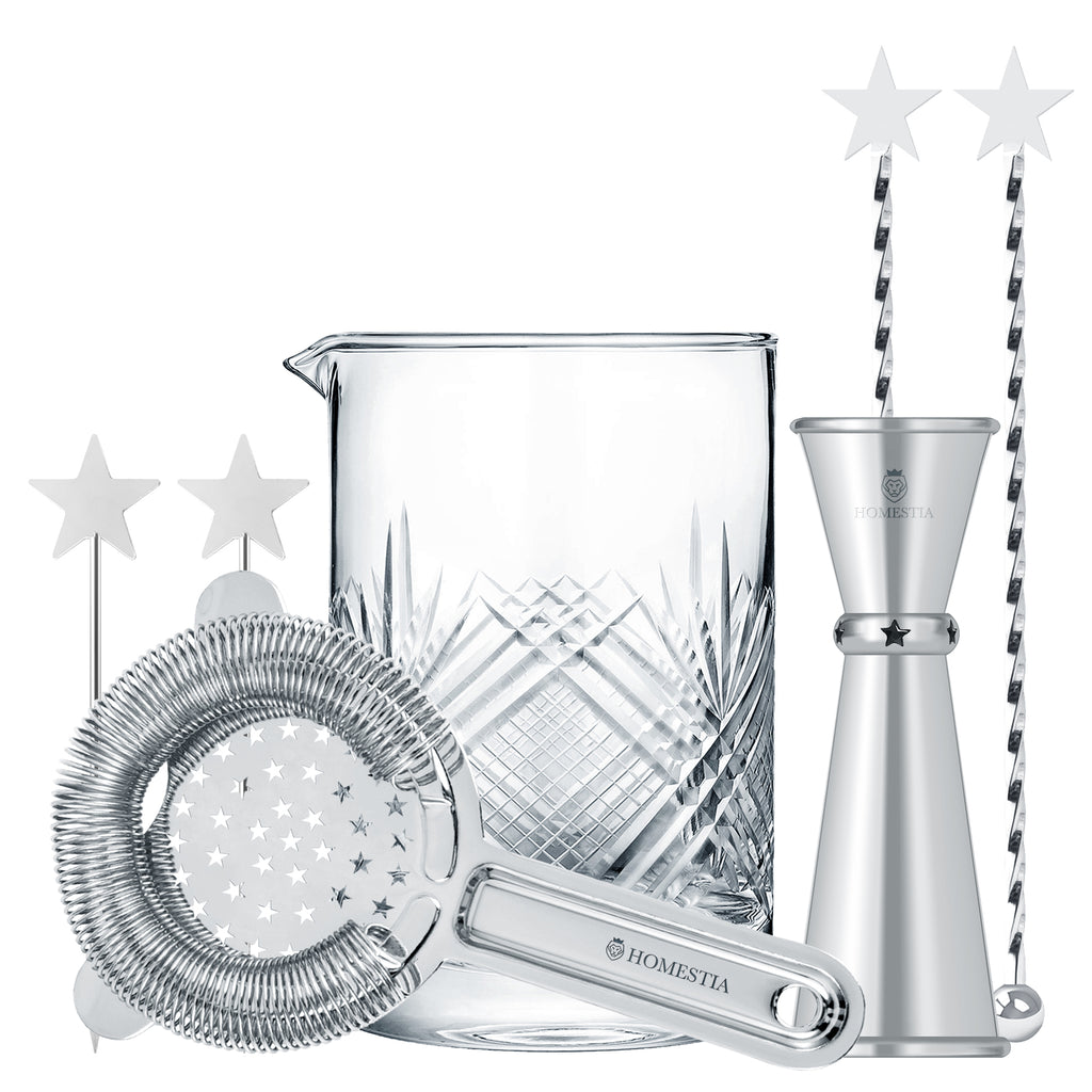 Homestia Silver Star Series 24oz Mixing Glass Cocktail Mixer Beaker Set of 7