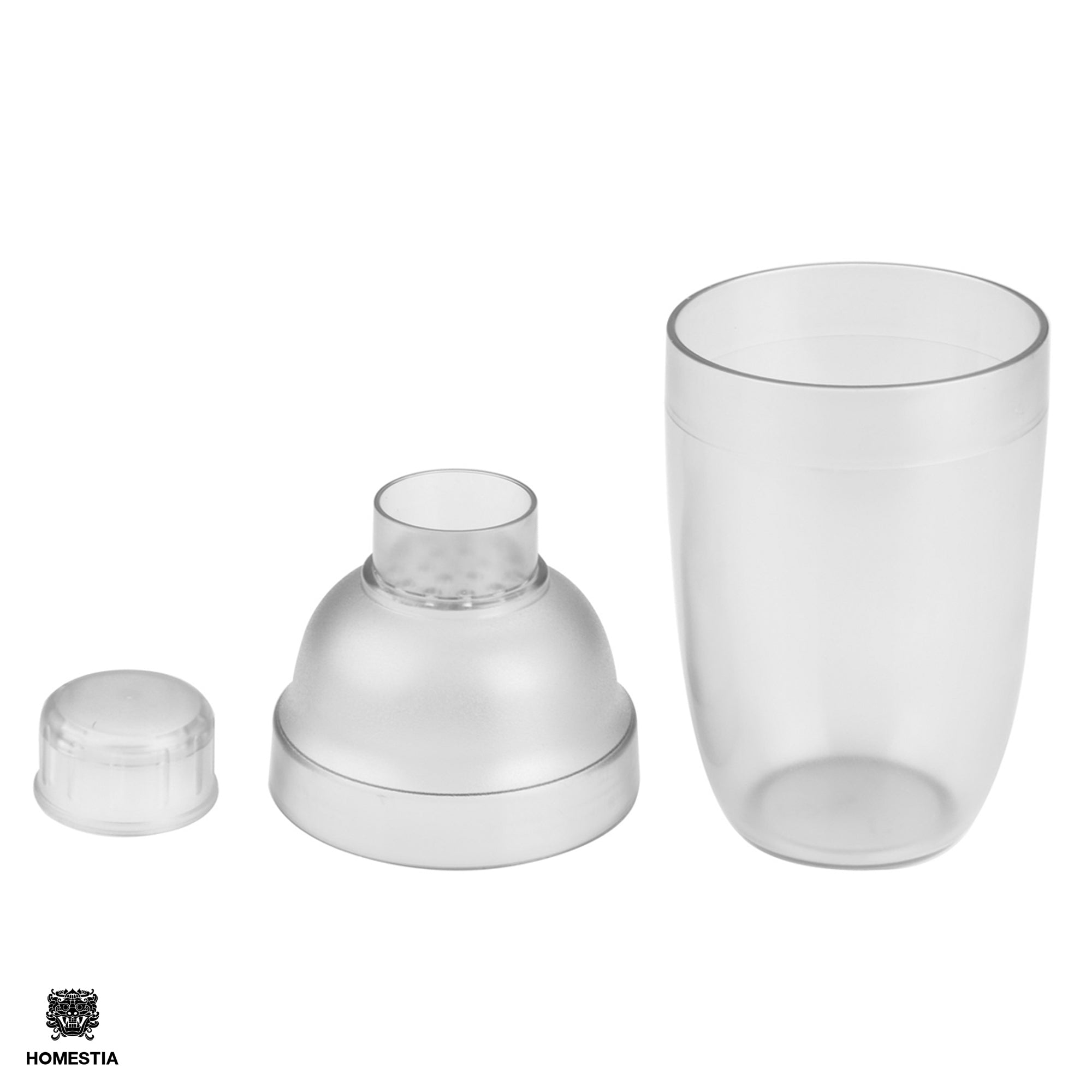 Homestia 18 oz Plastic Cocktail Shaker 3-Piece Drink Mixer Boba Tea Shaker W/Jigger