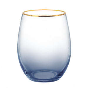 18oz Gold Rim Series Stemless Wine Glasses Lead-Free Mercury Glasses Set of 2 Homestia®