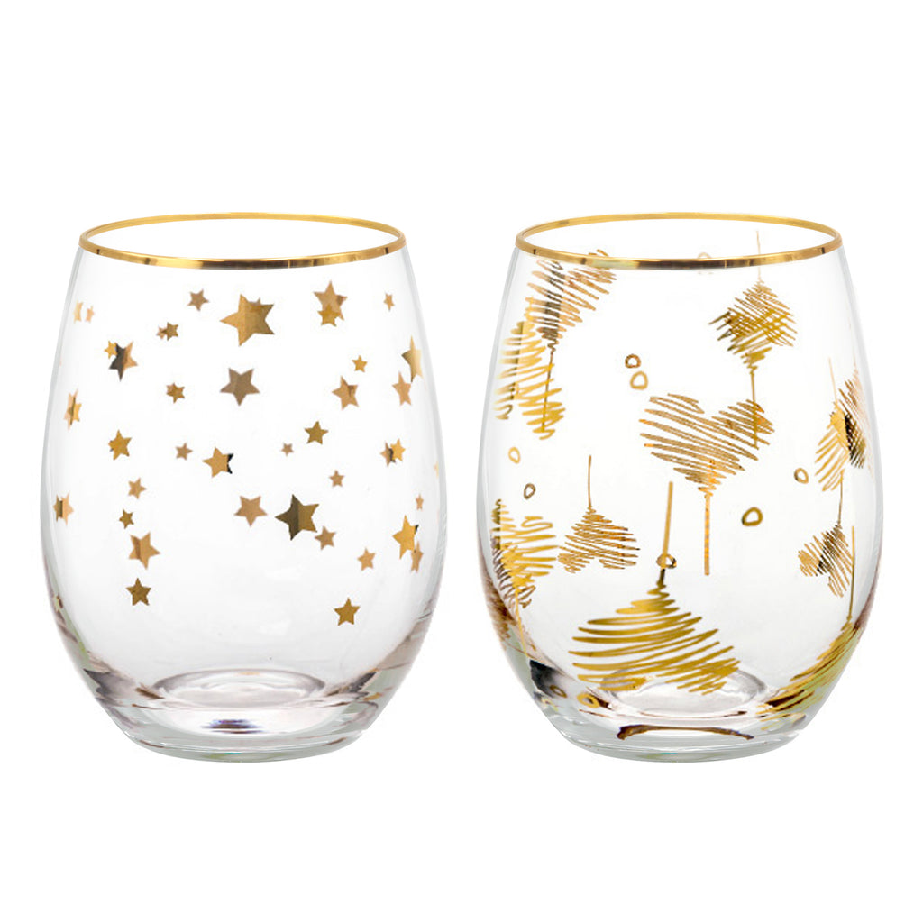 18oz Star with Heart Series Stemless Wine Glasses Lead-Free Mercury Glasses Set of 2 Homestia®