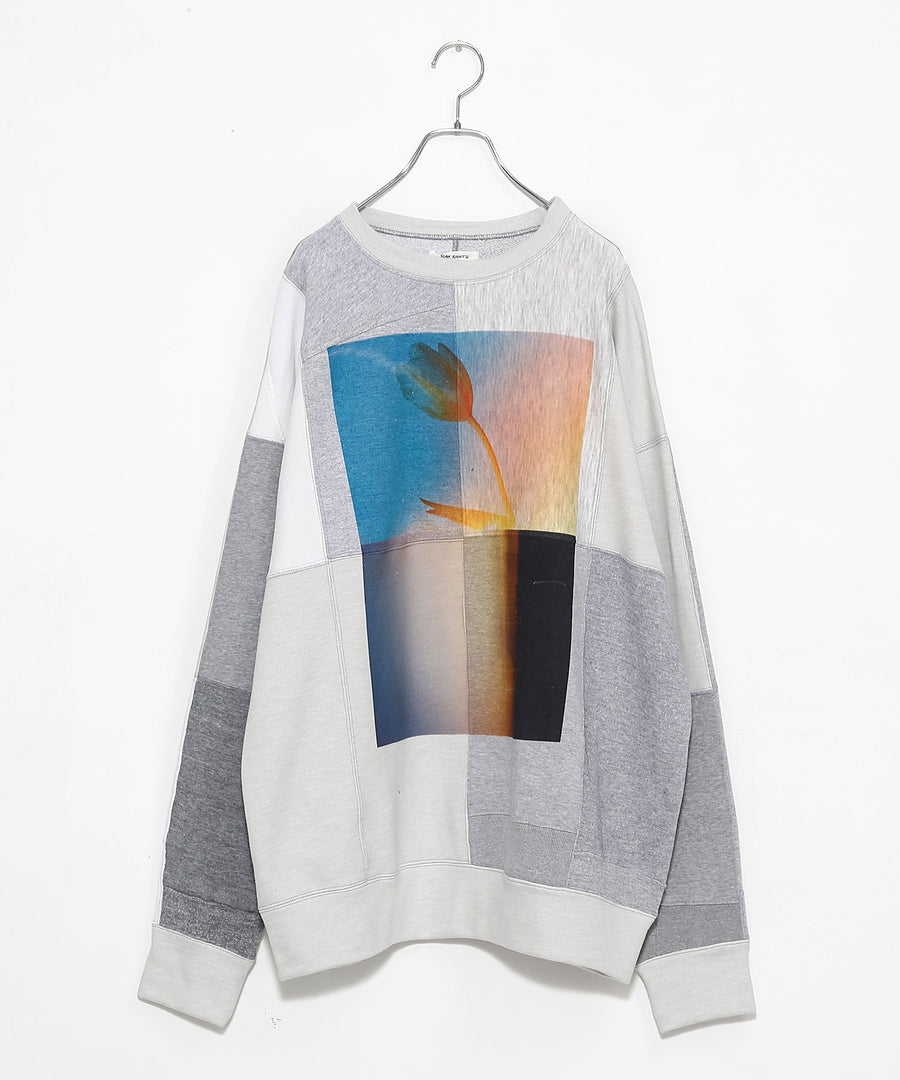 SWITCHING SWEATSHIRT P/O(w/ PRINT)/L.GRAY*dust_001