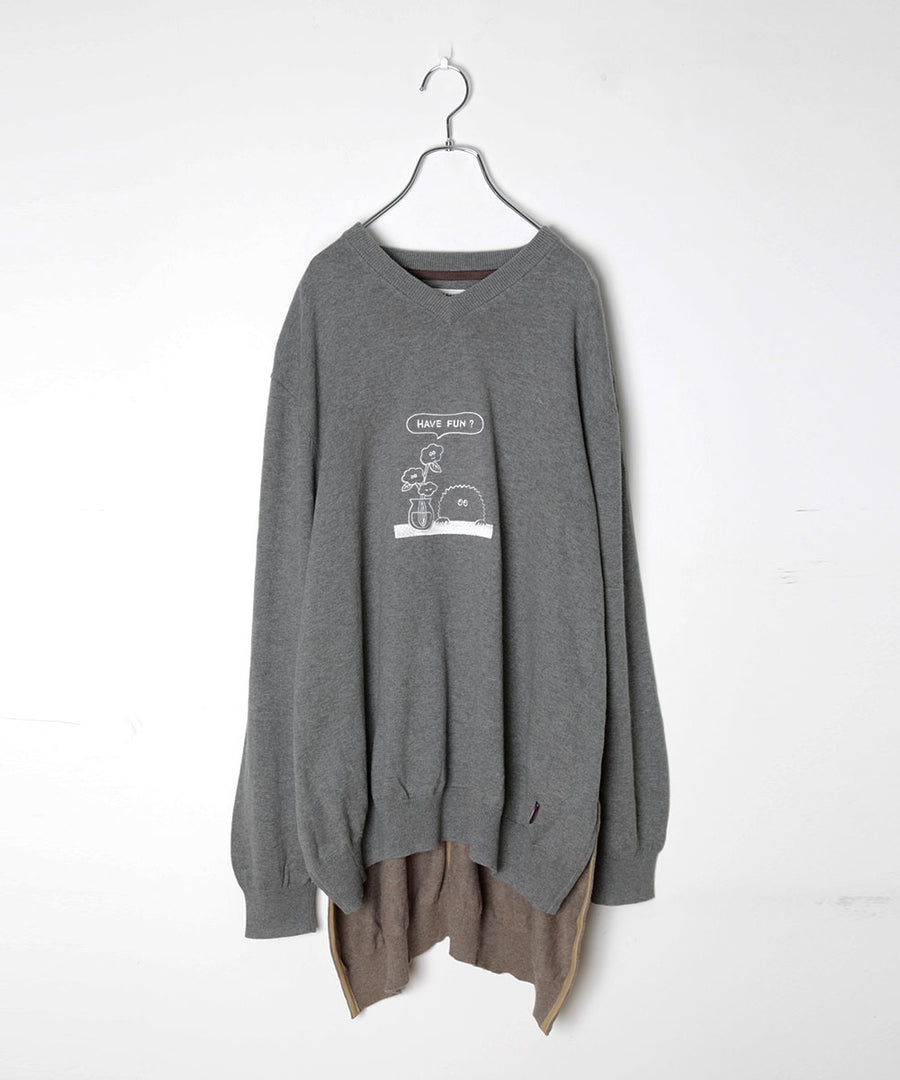 UNION KNIT SWEATER_EMB.(LIGHT*FUN)/002