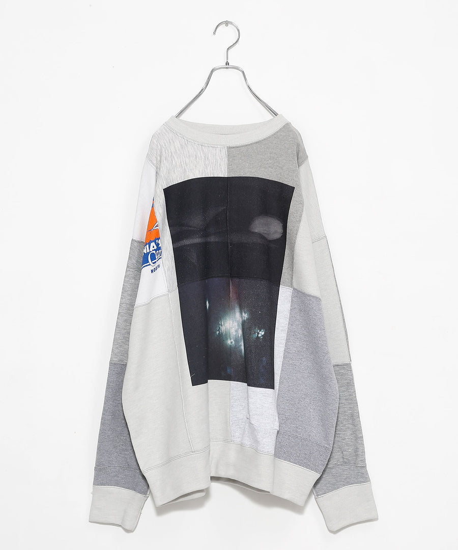SWITCHING SWEATSHIRT P/O(w/ PRINT)/L.GRAY*sparkle_001